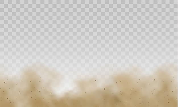 Fliegender sand. braune staubige wolke oder trockener sand fliegen mit einem windstoß, sandsturm. staubwolke. streupfad auf spur von schneller bewegung. braune rauch realistische textur.