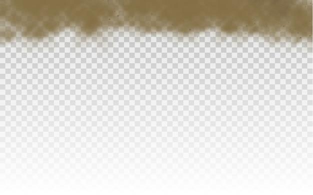 Fliegender sand. staubwolke. braune rauch realistische textur