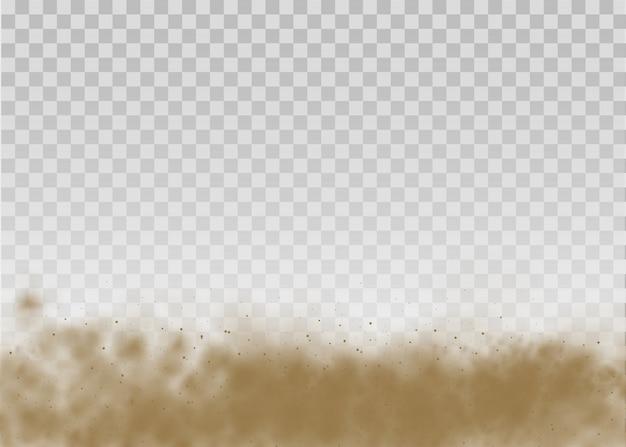 Fliegender sand. staubwolke. braune staubige wolke oder trockener sand fliegen mit einem windstoß, sandsturm. braune rauch realistische textur. illustration.