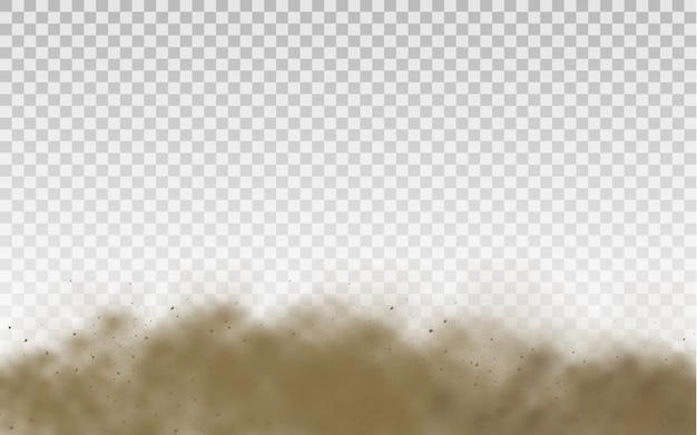 Fliegender sand. staubwolke. braune staubige wolke oder trockener sand fliegen mit einem windstoß, sandsturm. braune rauch realistische textur