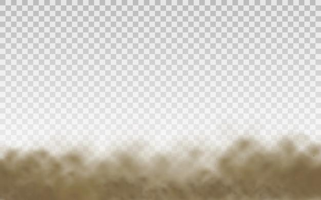 Fliegender sand. staubwolke. braune staubige wolke oder trockener sand fliegen mit einem windstoß, sandsturm. realistische texturvektorillustration des braunen rauches.