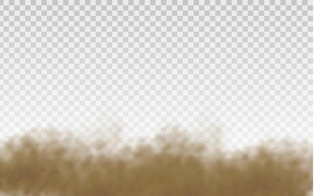 Fliegender sand. staubwolke. brauner staubiger wolkensand, der mit einem windstoß fliegt.