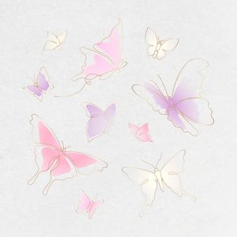 Fliegender schmetterlingsaufkleber, rosafarbener steigungslinie-kunstvektor-tierillustrationssatz