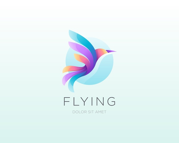 Fliegender vogel logo. buntes gradientenvogellogosymbol