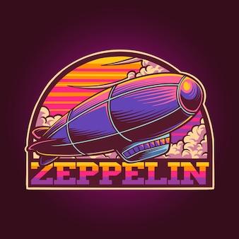 Fliegender zeppelin mit popfarbenillustration