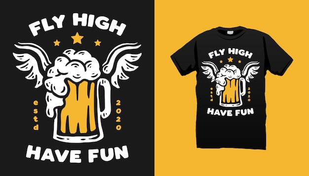 Fliegendes bier t-shirt design