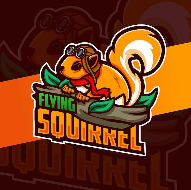 Fliegendes eichhörnchen maskottchen logo design