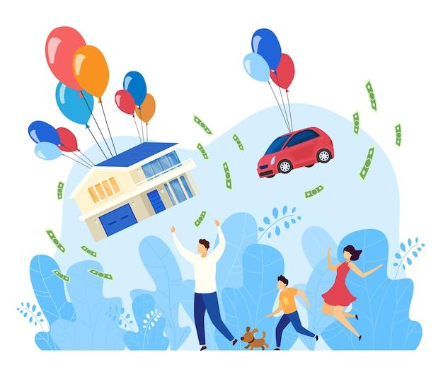 Fliegendes familienhaus flache konzeptvektorillustration. cartoon vater mutter und kind charaktere laufen nach dem verschieben von auto und haus geschenke