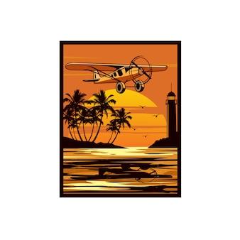 Fliegendes flugzeug am strand