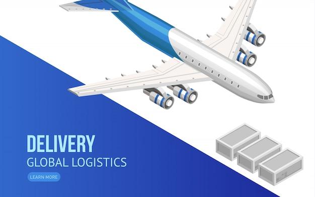 Fliegendes flugzeug für globale logistikwebseite