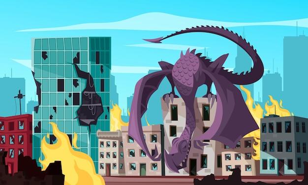 Fliegendes monster, das auf dem dach sitzt und brennende stadtkarikaturillustration angreift