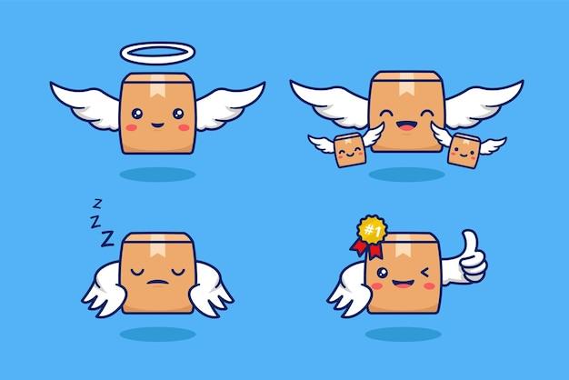 Fliegendes paketpaket mit engelsflügelcharakter. maskottchen-logo-set