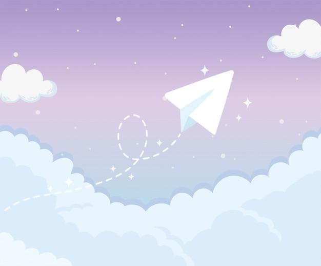 Fliegendes papierflugzeug am himmel