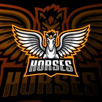 Fliegendes pferd maskottchen logo esport gaming