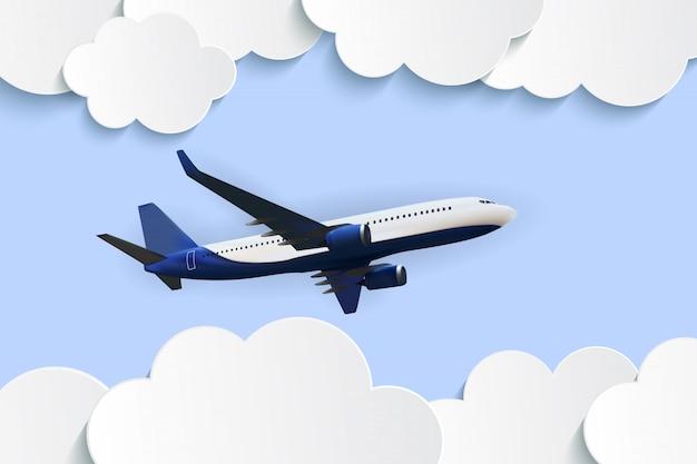 Fliegendes realistisches flugzeug durch die wolken
