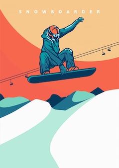 Fliegendes snowboarding-weinleseplakat