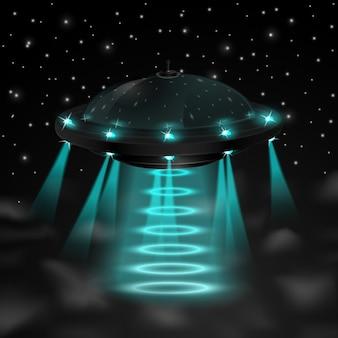 Fliegendes ufo in der nacht