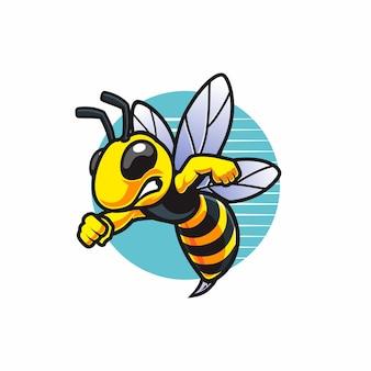 Fliegendes wütendes bienenmaskottchen
