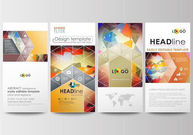 Flieger eingestellt, moderne banner. cover-vorlage abstraktes buntes dreieckdesign