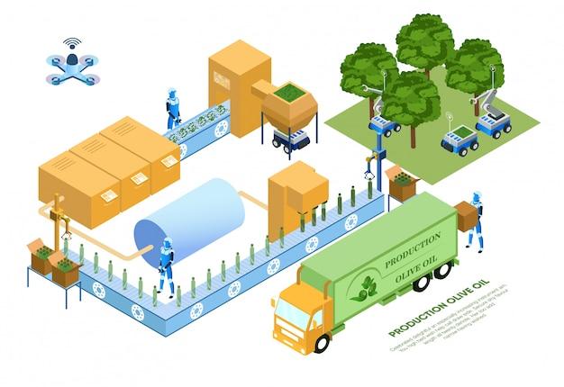 Flieger-produktions-olivenöl-vektor-illustration.