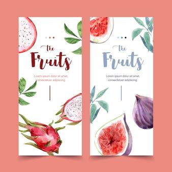 Fliegeraquarell mit schönem fruchtthema, dragonfruit-illustrationsschablone.