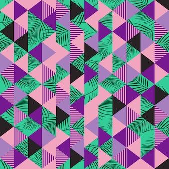 Fliese des dreieckmusters mit palmblattzusammenfassung