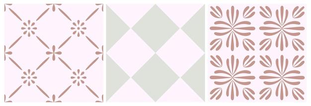 Fliese nahtloser mustersatz. vektorgeometrischer hintergrund. traditionelles marokkanisches, portugiesisches druckdesign. grafisches muster für keramik, boden, tapete. abstrakte quadratische verzierung in heller pastellfarbe.