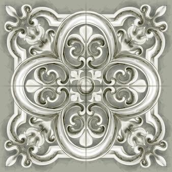 Fliesen- oder mosaikverzierungsaquarell