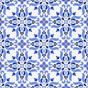 Fliesenmuster, bunter dekorativer nahtloser mit blumenhintergrund, schöne keramische tapetendekor-vektorillustration