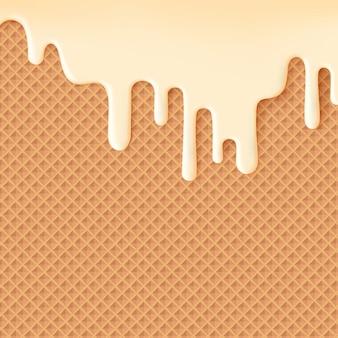 Fließende cremeglasur auf waffentextur süßem lebensmittelhintergrund abstrakt. schmelzglasur auf nahtlosem waffelmuster. bearbeitbar - einfache farbänderung.