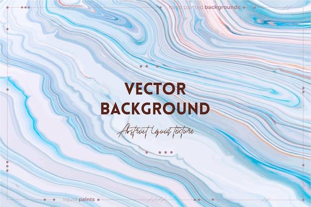 Fließende kunstbeschaffenheit. abstrakter wirbelnder farbeffekt. blau, weiß und orange überlaufende farben. Premium Vektoren