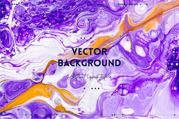 Fließende kunstbeschaffenheit. hintergrund mit abstraktem mischfarbeneffekt. lila, goldene und weiße überfließende farben.