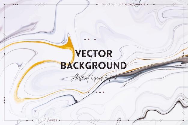 Fließende kunstbeschaffenheit. hintergrund mit abstraktem wirbelndem farbeffekt. schwarze, weiße und goldene überfließende farben. Premium Vektoren