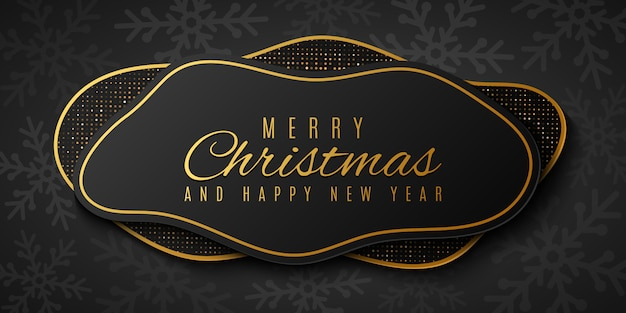Fließende weihnachtsformen mit muster von schneeflocken und goldenem glitzer. modernes geometrisches banner für ihr projekt. festliche grußkarte.