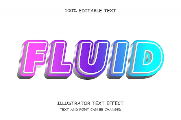 Fließender, 3d bearbeitbarer texteffekt im modernen 3d-stil