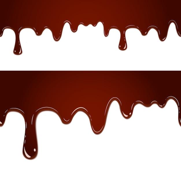 Fließender geschmolzener schokoladenfahnensatz lokalisiert auf weiß