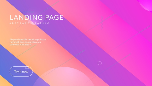 Fließendes layout. violette mobile form. regenbogen-design. flow-landingpage. flaches geometrisches poster. dynamisches konzept. bunte vorlage. hipster-seite. magenta fluid-layout
