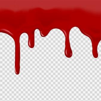Fließendes rotes blut auf einem transparenten hintergrund