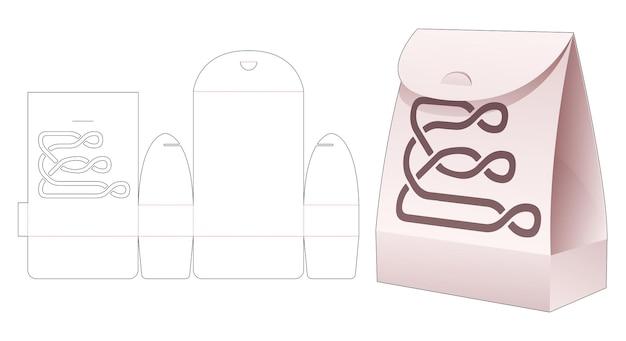Flip-bag aus pappe mit gestickter linie und gestanzter schablone mit verriegelungspunkt