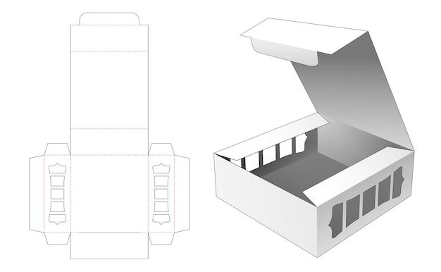 Flip bekery box mit 2 seitenfenstern gestanzte vorlage