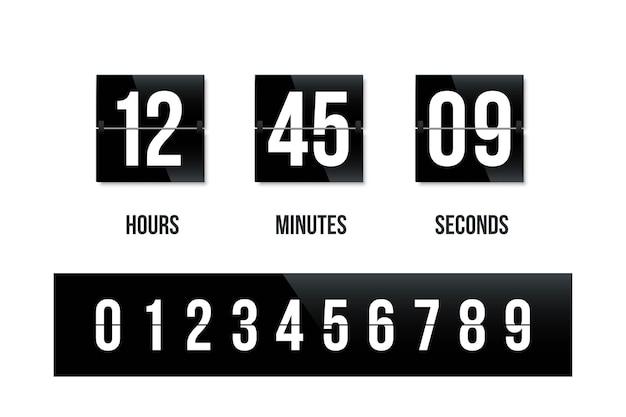 Flip board schwarz uhr panel mit nummer countdown