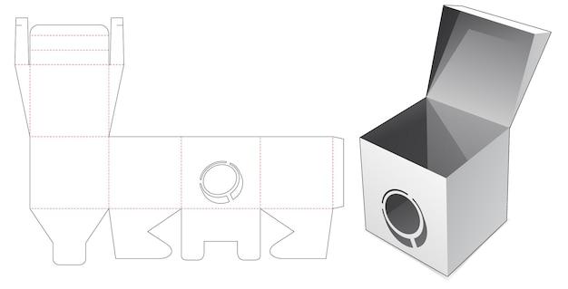 Flip-box mit gestanzter schablone für münzfenster
