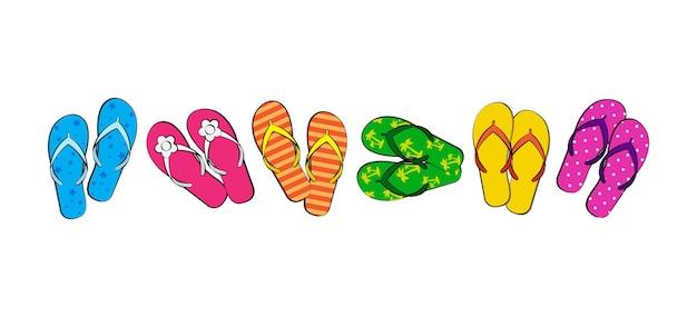 Flip-flop-symbol, sommerschuhe, sandalen-strand-set. cartoon-abbildung