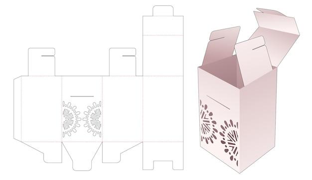 Flip-geschenkbox-verpackung mit schablonen-mandala-stanzschablone