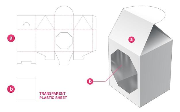 Flip-haus-verpackung und achteckiges fenster mit transparenter plastikfolien-stanzschablone