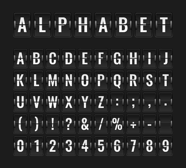 Flip-schriftart. flughafen flugbrett infotafel abflug ziel flugzeug fluggesellschaft alphabet ankunft terminal illustration