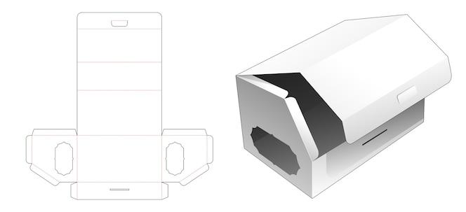 Flip top abgeschrägte lange box mit fenster gestanzte vorlage