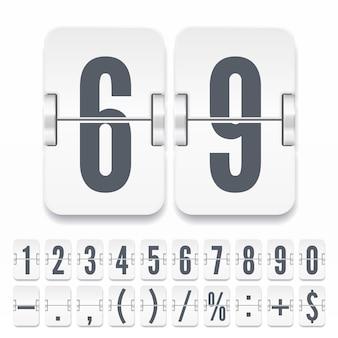 Flip zahlen und symbole auf der leichten mechanischen anzeigetafel mit schatten auf weißem hintergrund. vektorvorlage für zeitzähler oder webseiten-timer