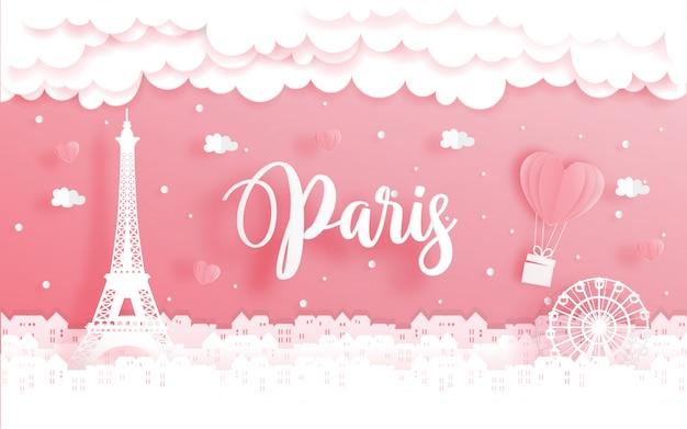 Flitterwochenreise und valentinstagkonzept mit reise nach paris, frankreich