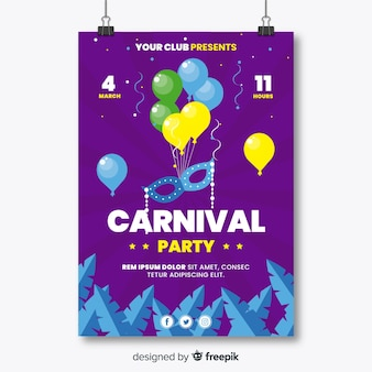 Floating ballons karneval party poster